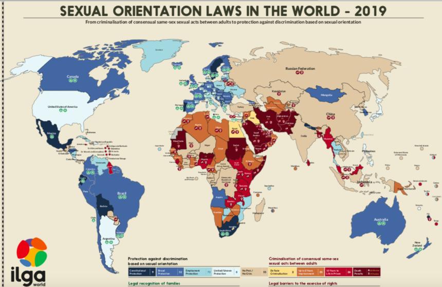 ILGA: illegale essere gay in più di 70 paesi nel mondo