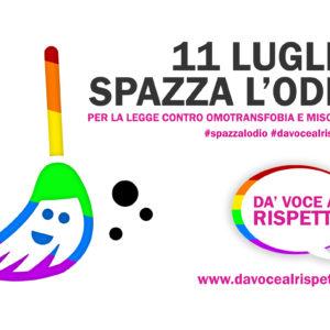 Omotransfobia, sabato 11 luglio  #spazzalodio: eventi e flashmob per la legge